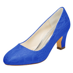 Women's Silk Like Satin Chunky Heel Closed Toe Pumps
