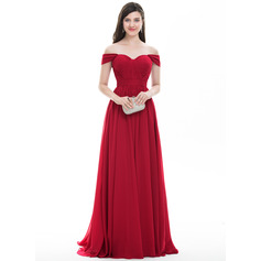 A-Line/Princess Off-the-Shoulder Sweep Train Chiffon Prom Dresses With Ruffle