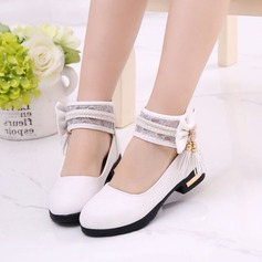 Girl's Leatherette Flat Heel Closed Toe Flats With Bowknot Imitation Pearl Tassel