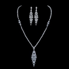 Elegant Copper/Zircon With Rhinestone Ladies' Jewelry Sets