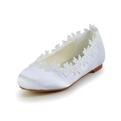 Girl's Closed Toe Satin Flat Heel Flats Flower Girl Shoes With Applique