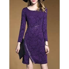 Polyester With Stitching Knee Length Dress (199134294)
