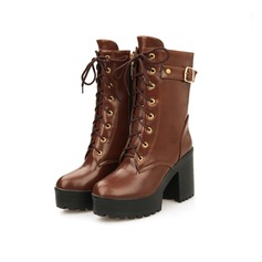 Leatherette Chunky Heel Platform Mid-Calf Boots Riding Boots With Buckle Braided Strap shoes