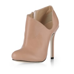 Leatherette Stiletto Heel Closed Toe Pumps Ankle Boots