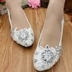 Women's Leatherette Low Heel Closed Toe With Rhinestone Applique