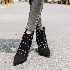 Women's Suede Stiletto Heel Pumps Ankle Boots With Zipper Hollow-out shoes
