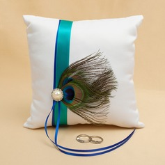 """""""Love Ever Lasting"""" Ring Pillow in Satin With Feather"""