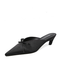 Women's Satin Low Heel Slippers With Bowknot shoes