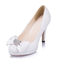 Women's Lace Satin Stiletto Heel Closed Toe Pumps With Bowknot