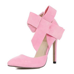 Women's Suede Stiletto Heel Pumps Closed Toe With Bowknot Lace-up shoes