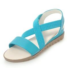 Frauen Kunstleder Flascher Absatz Sandalen Flache Schuhe Peep Toe Slingpumps mit Andere Schuhe