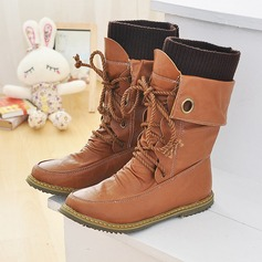Women's Leatherette Flat Heel Flats Closed Toe Boots Knee High Boots Mid-Calf Boots Snow Boots Martin Boots Riding Boots With Lace-up shoes (088171012)