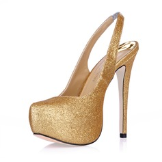 Women's Sparkling Glitter Stiletto Heel Closed Toe Platform Pumps Slingbacks