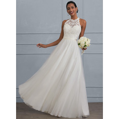 A-Line/Princess Scoop Neck Floor-Length Tulle Wedding Dress (002124265)