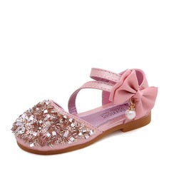 Girl's Closed Toe Leatherette Flat Heel Flats Flower Girl Shoes With Bowknot Imitation Pearl Rhinestone