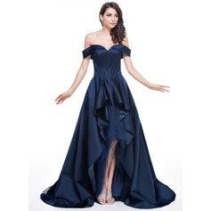 A-Line/Princess Off-the-Shoulder Asymmetrical Satin Evening Dress With Cascading Ruffles