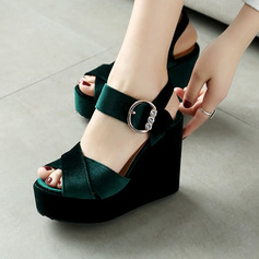 Women's Suede Velvet Wedge Heel Sandals With Buckle shoes