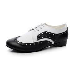 Unisex Real Leather Heels Ballroom With Lace-up Dance Shoes