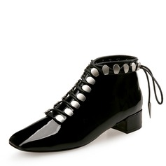Women's Patent Leather Chunky Heel Closed Toe Ankle Boots With Lace-up shoes