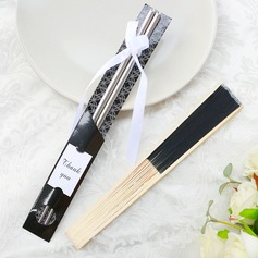 Debutante ball Chopsticks and Silk Hand Fan Set Wedding Favor