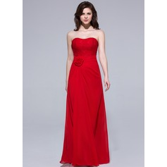 Sheath/Column Sweetheart Floor-Length Chiffon Bridesmaid Dress With Ruffle Flower(s)