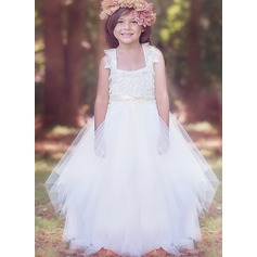 Ball Gown Floor-length Flower Girl Dress - Tulle Sleeveless Square Neckline With Lace/Sash