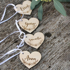 Personalized Heart-shaped Wooden Tags/Place Cards