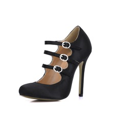 Silk Like Satin Stiletto Heel Pumps Closed Toe With Buckle shoes