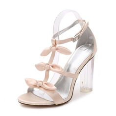 Women's Silk Like Satin Chunky Heel Peep Toe Pumps Sandals MaryJane With Bowknot Buckle