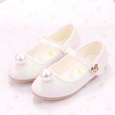 Girl's Leatherette Flat Heel Round Toe Flats With Imitation Pearl Velcro