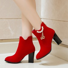 Women's Suede Chunky Heel Pumps Ankle Boots With Rhinestone Zipper shoes