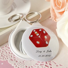 Personalized Round Plastic Keychains/Compact Mirror