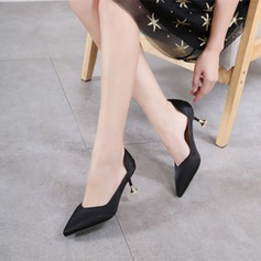Women's Satin Spool Heel Pumps Closed Toe With Others shoes