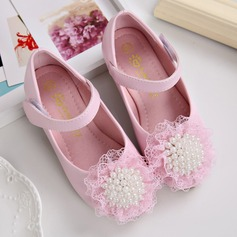 Girl's Leatherette Flat Heel Closed Toe Flats With Imitation Pearl Velcro