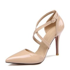 Women's Leatherette Stiletto Heel Closed Toe Pumps With Buckle Hollow-out