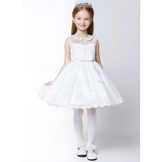 A-Line/Princess Knee-length Flower Girl Dress - Polyester Sleeveless Peter Pan Collar With Lace/Appliques