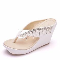Women's Leatherette Wedge Heel Flip-Flops Peep Toe Platform Wedges With Tassel
