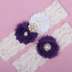 Elegant Lace/Chiffon With Rhinestone/Imitation Pearls Wedding Garters