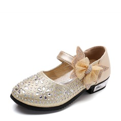 Jentas Round Toe Leather flat Heel Flate sko Flower Girl Shoes med Bowknot Rhinestone Velcro
