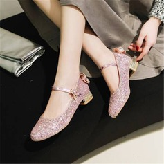 Women's Sparkling Glitter Chunky Heel Pumps Mary Jane With Bowknot shoes (085211746)