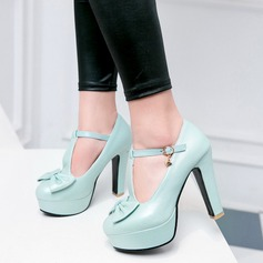 Women's Leatherette Chunky Heel Pumps Platform Closed Toe Mary Jane With Bowknot shoes