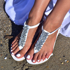 Women's Leatherette Flat Heel Flats Flip-Flops Sandals Beach Wedding Shoes With Rhinestone Flower
