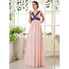 Empire V-neck Floor-Length Chiffon Maternity Bridesmaid Dress With Sash (045022470)