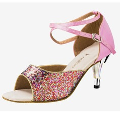 Women's Satin Sparkling Glitter Heels Sandals Latin Ballroom Wedding Party With Ankle Strap Dance Shoes