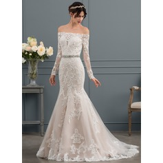 Trumpet/Mermaid Off-the-Shoulder Sweep Train Tulle Wedding Dress