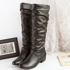 Women's PU Low Heel Flats Boots Knee High Boots shoes (088140259)