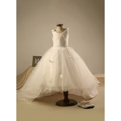 Ball Gown Knee-length Flower Girl Dress - Polyester/Cotton Sleeveless Scoop Neck With Beading/Pleated
