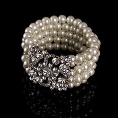 Chic Legering Steentjes met Imitatie Parel Strass Dames Fashion Armbanden
