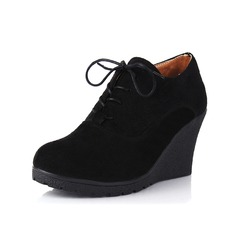 Women's Leatherette Wedge Heel Wedges Ankle Boots shoes