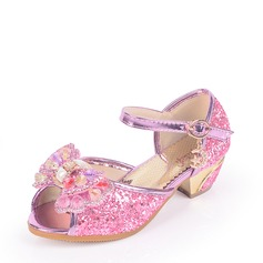Girl's Sparkling Glitter Low Heel Peep Toe Sandals With Bowknot Rhinestone Sparkling Glitter